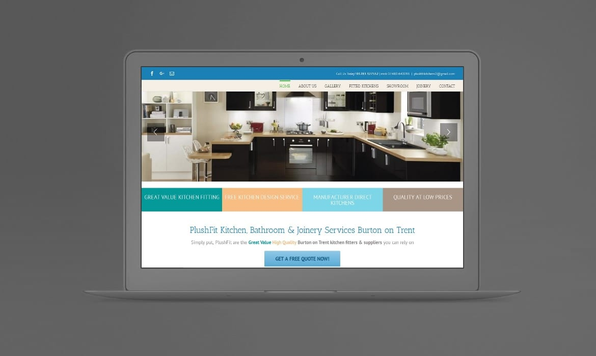 Web Design Derby Agency -Portfolio image for Plushfit Kitchens