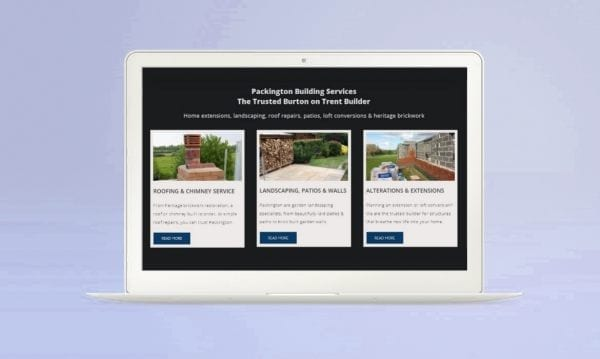 portfolio image of client website Packington Builders